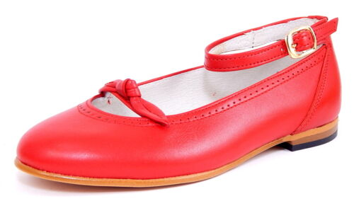 DE OSU 119 Size 11-1 Girls Euro Red Leather Ankle Strap Mary Jane Dress Shoes