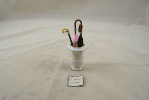 Porcelain Umbrella Holder w// umbrellas 1.652//0 miniature dollhouse 1//12 scale