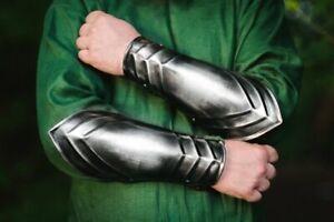 Blackened-steel-pair-of-bracers-cosplay-armor-for-larp-clothing-metal-bracers