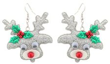 Zest Glittery Christmas Rudolph Earrings + Wiggly Eyes for Pierced Ears Silver
