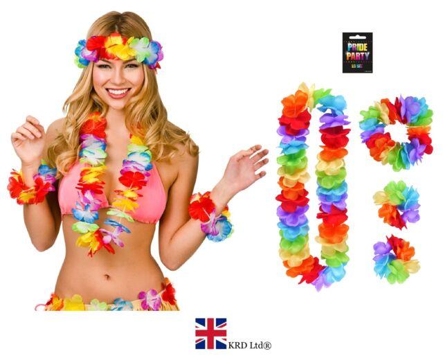 NEW LADIES LEI HULA SET Adult Hawaiian Fancy Dress Costume Beach Hen Party 4PCS
