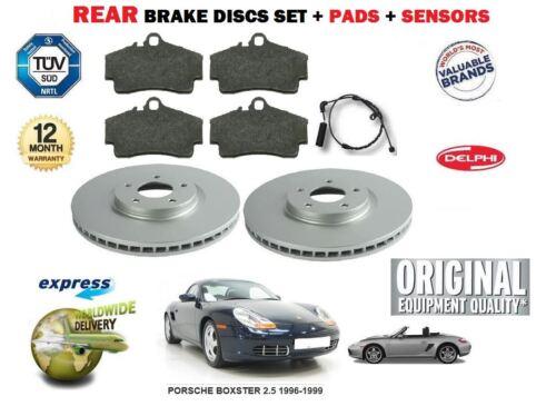 Para Porsche Boxster 2,5 1996-1999 Trasero Discos De Freno Y Disco Pad Kit Pad Sensores