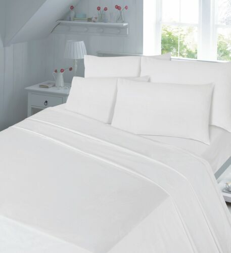 Flat Bed Sheet Poly-Cotton Plain Dyed Or Pillow Cases Non Iron Easy Care Sheets
