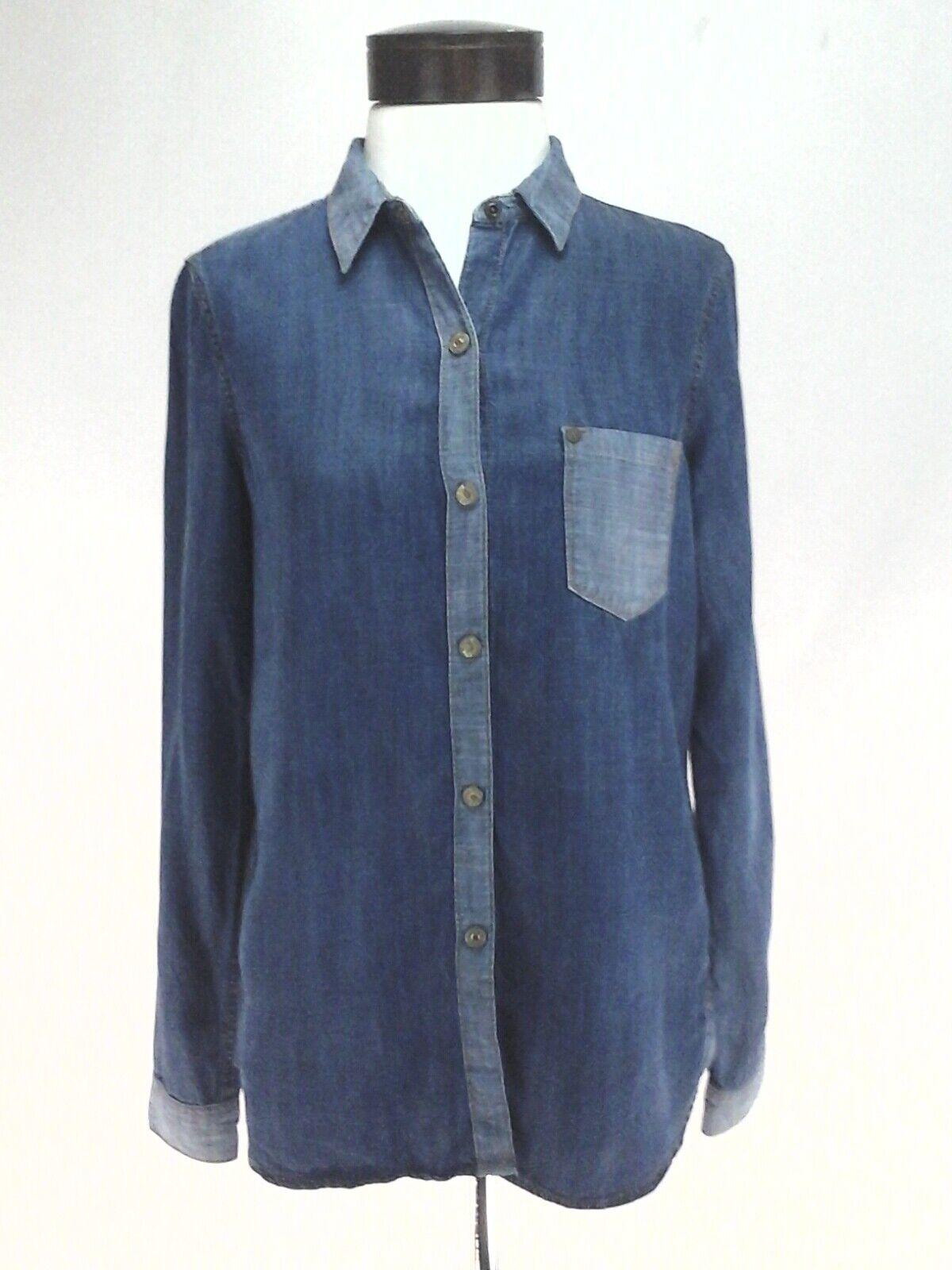 7 for all Mankind Tencel Denim Look Shirt Two Tone Blau Top Woherren S  RARE
