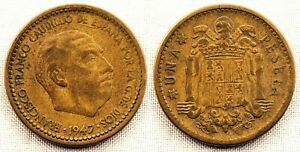 Spain-Estado-Espanol-1-Peseta-1947-19-56-Madrid-RARA-Y-ESCASA