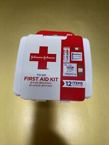 JOHNSON & JOHNSON First Aid To Go Kit 12 Essential Items Travel NEW Fast Ship💯