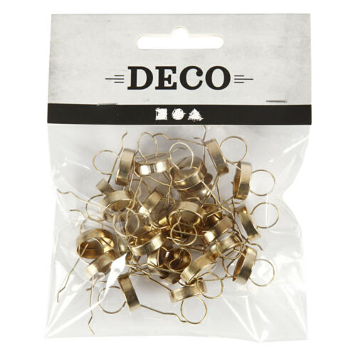 25 Gold 5mm Christmas Bauble Hangers with Caps