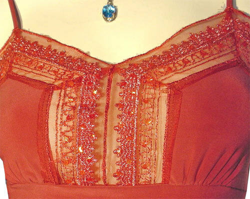 Details about  /New Rust Orange Sleeveless Spaghetti Strap Top Blouse Sheer Lace Peplum Tops S
