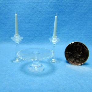 Dollhouse Miniature Light Green Plastic Candlestick Set with White Candles