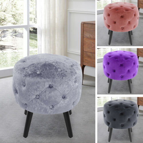 Deep Button Round Stool Vanity Stools Dining Chair Velvet Fabric Seat Footstool