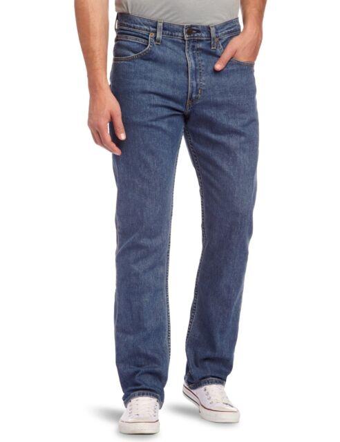 New Lee Brooklyn Mens Straight Leg Stretch Jeans Mid Stonewash Blue Denim Pants