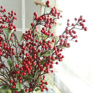 Artificial Red Bird Berry Spray Stem Of Faux Berries Autumn Christmas Home Decor Ebay