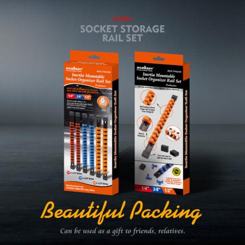 6pc Socket Organizer Mountable Sliding Holder Rail Rack Tool Storage 1//4 3//8 1//2