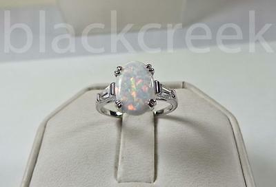 925 Sterling Silver~White Fire Oval Opal baguette C.Z. Ring ~Choose Size