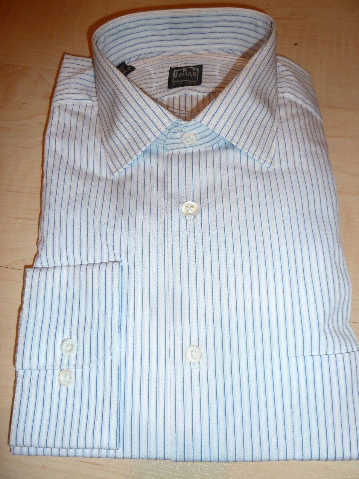NEW  IKE BEHAR MENS SHIRT Sz 15.5 34 35 Luxury Cotton white stripe BC 3