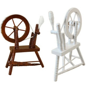 1-12-scale-doll-house-miniature-hand-reeling-machine-wooden-spinning-wheel-K8Z9