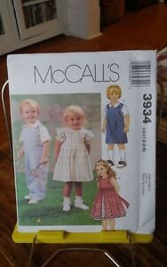 Oop-Mccalls-3934-toddlers-dress-slip-jumpsuit-shirt-snap-crotch-sz-1-4-NEW
