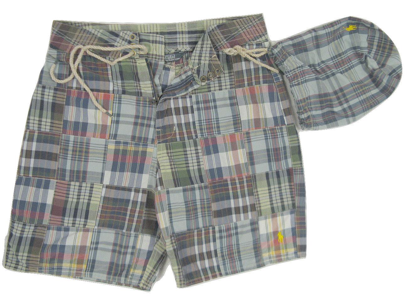 NEW   Polo Ralph Lauren Patchwork Plaid Swim Shorts (Bathing Suit) & Bag   40