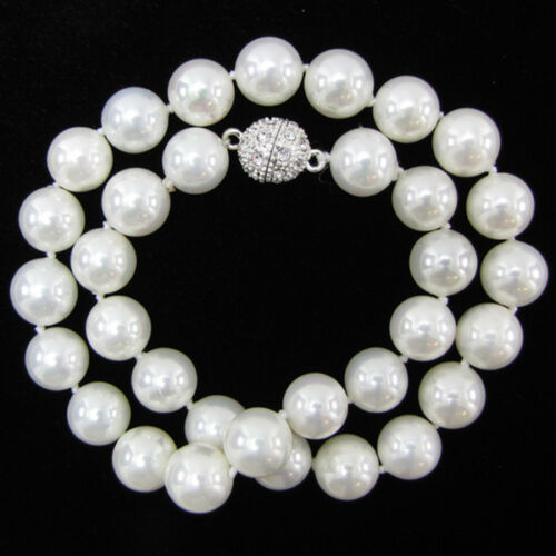"""8mm 10mm 12mm 14mm Natural White South Sea Shell Pearl Necklace 18/""""AAA+"""