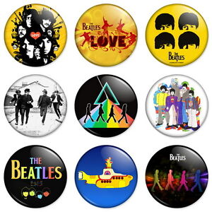 9-x-Beatles-25mm-1-Pin-Badges-Buttons-Lennon-McCartney-Ringo-Harrison-Combo
