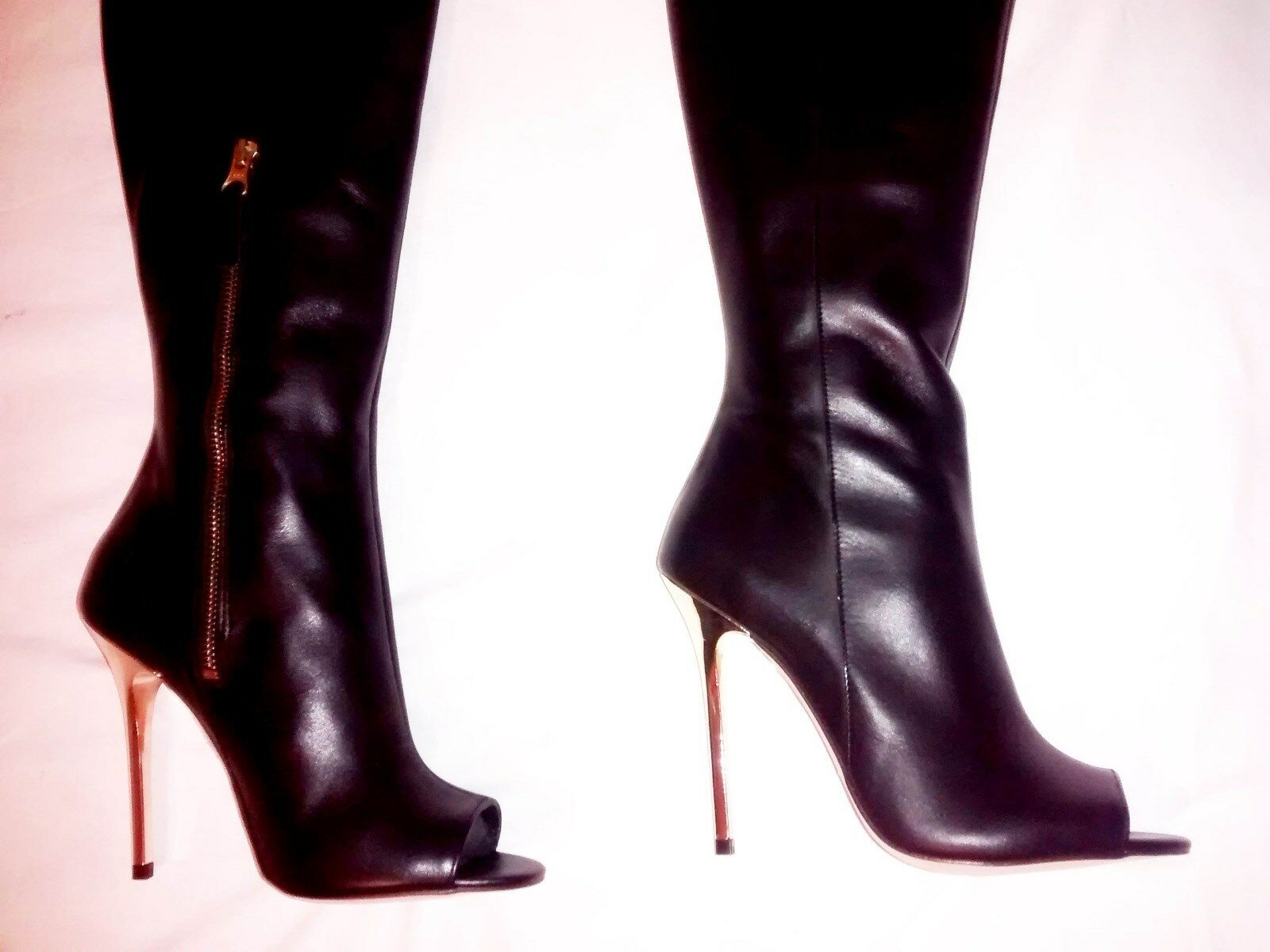 Grandes zapatos con descuento ICONIC BNIB 6 39 OFFICE BLACK LEATHER PEEP TOE OVER THE KNEE OTK THIGH BOOTS