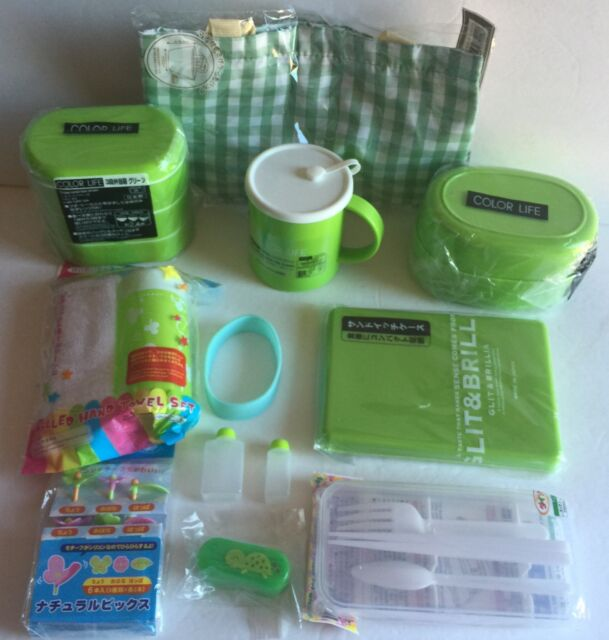 Big Green Lunch Bento Box Kit With 3 Boxes, Oshibori, Bag, and Lots Accessories