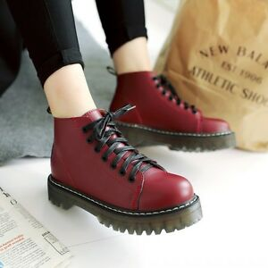Punk-Womens-Shoes-Lace-Up-Round-Toes-Chunky-Heels-Ankle-Boots-Oxfords-Platform
