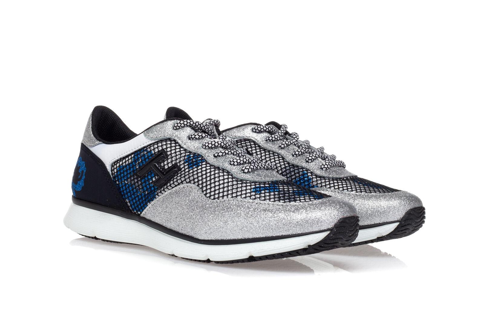 f7672438d4033 hogan scarpe sneakers donna h254 glitter argento pelle bianca camoscio nero  mesh