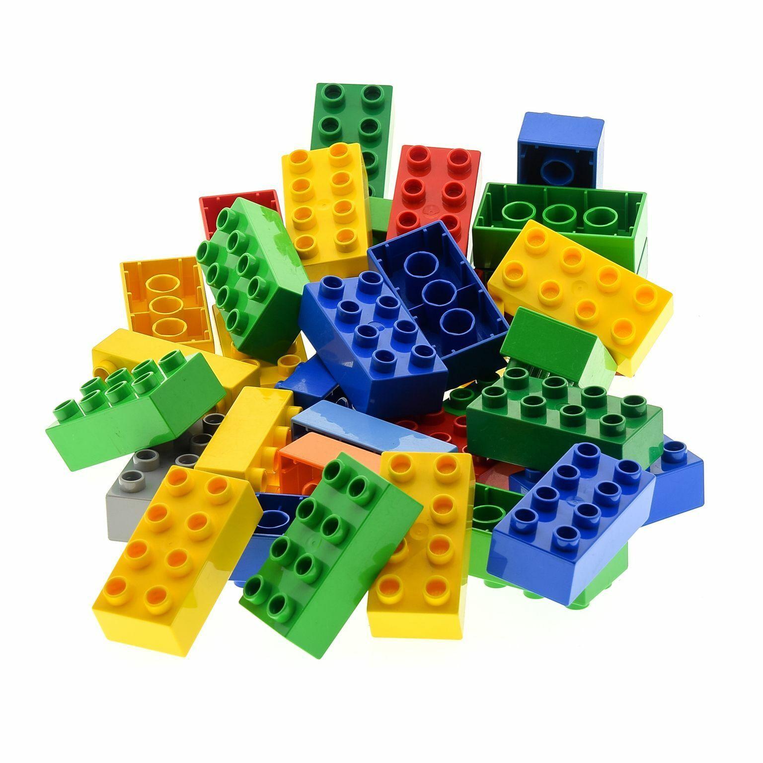 35 x LEGO DUPLO 2x4 Bau Steine Kiloware 3011 31459 Farbe gemischt z.B. red green