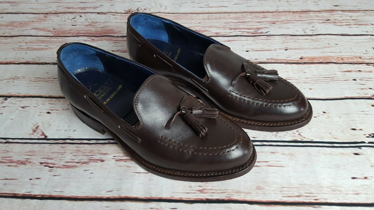 Hackett London Mens Brown Leather Tassel Loafer Slip On Shoes Size 6.5 F