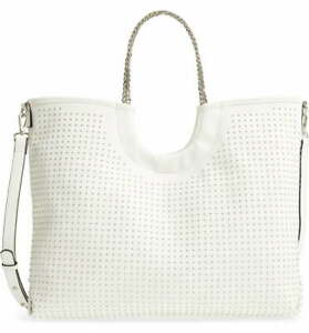 Steve Madden Blenny Pin Stud White Faux Leather Crossbody Tote Bag 2803