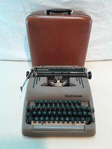 VTG-1954-Smith-Corona-Silent-Super-5T-Sapphire-Grey-Portable-Typewriter-amp-Case
