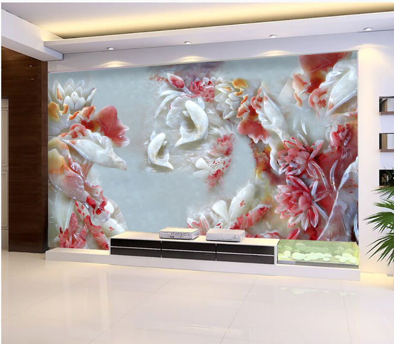 3D Flowers, fish 234 Wall Paper Wall Print Decal Wall Deco Indoor Wall Murals
