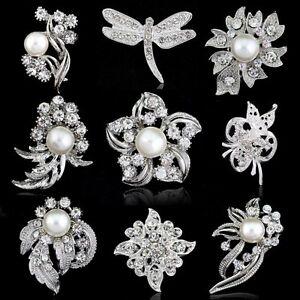 Vintage-Silver-Flower-Rhinestone-Crystal-Wedding-Bridal-Bouquet-Pearl-Brooch-Pin