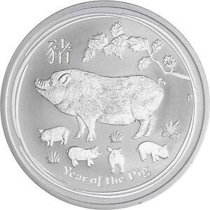 Australien-1-Dollar-Schwein-2019-Jahr-des-Schweines-1-Oz-Silber-Stempelglanz
