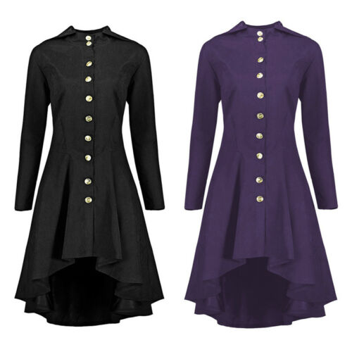 Vintage Steampunk Hooded Back Lace Up Jacket Swing Trench Coat Gothic Outwear UK
