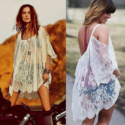 SEXY Spitze Lace Boho Clubwear Bluse TOP Shirt Tunika Mini Party Kleid NEU BC26