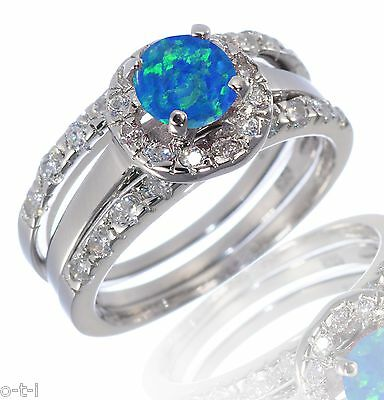 White Gold Emerald Cut Dark Blue Fire Opal Engagement Wedding Silver CZ Ring Set
