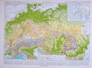 Map Of Germany Mountains.Details About 1913 Map Germany Austria Hungary Physical Mountains Land Heights Bohemia Hanover