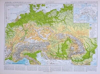1849 Map 20x24 Length of the Rivers and Heights of Mountains of the World