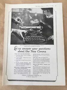 New Corona typewriter print ad 1923 orig vintage illustration retro art decor