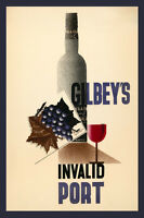 Gilbey's Invalid Port Red Wine Portugal Drink Fine Vintage Poster Repro Free Sh