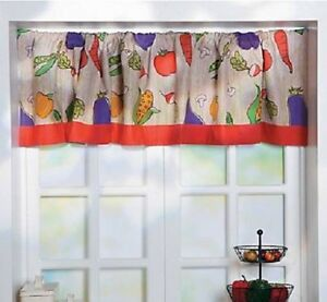 Image Is Loading Colorful Vegetable Garden Valance Tomato Corn Veggie Kitchen