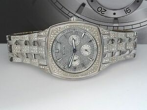 bulova 96c002 swarovski crystal silver tone day date dress men image is loading bulova 96c002 swarovski crystal silver tone day date