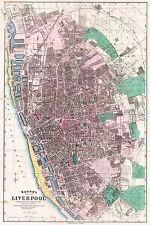 Mappa ANTICA Bacon 1890 comunale di Liverpool piano vecchi grandi repro poster stampa pam0549