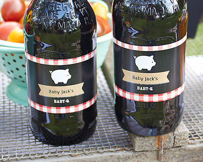 24 Personalized BBQ Water Soda Bottle Labels Bridal Shower Wedding Favors