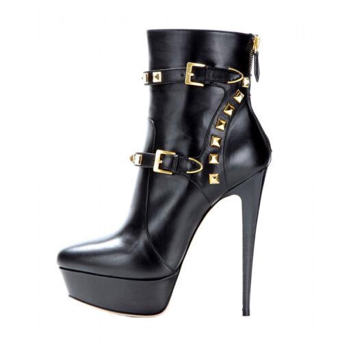 Onlymaker Womens Ankle Boots High Heels Platform Side Zipper Buckles Rivet Chic