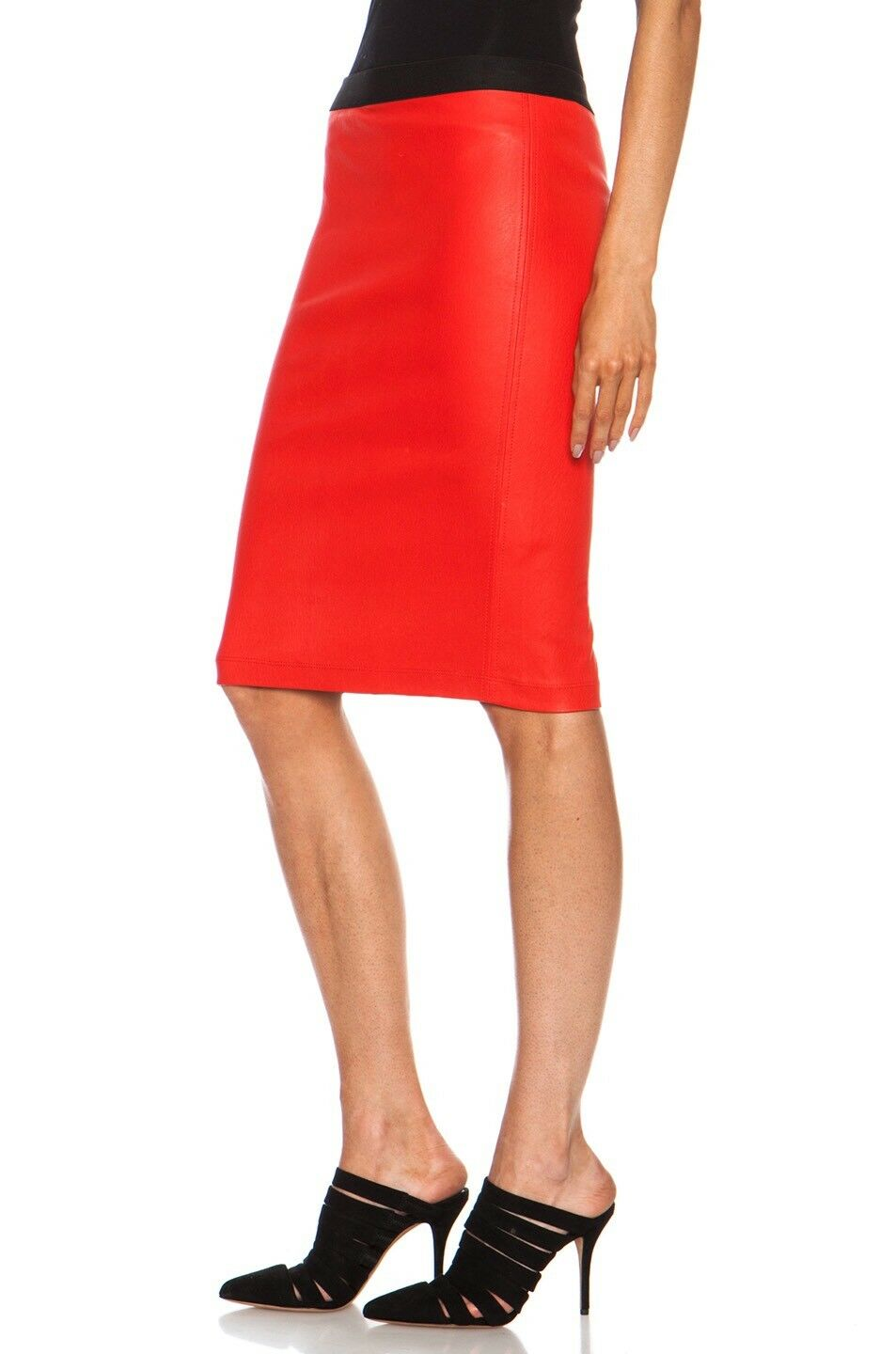 800 HELMUT LANG PLONGE LEATHER PENCIL SKIRT, SZ 2 VEIN RED INCREDIBLY RARE