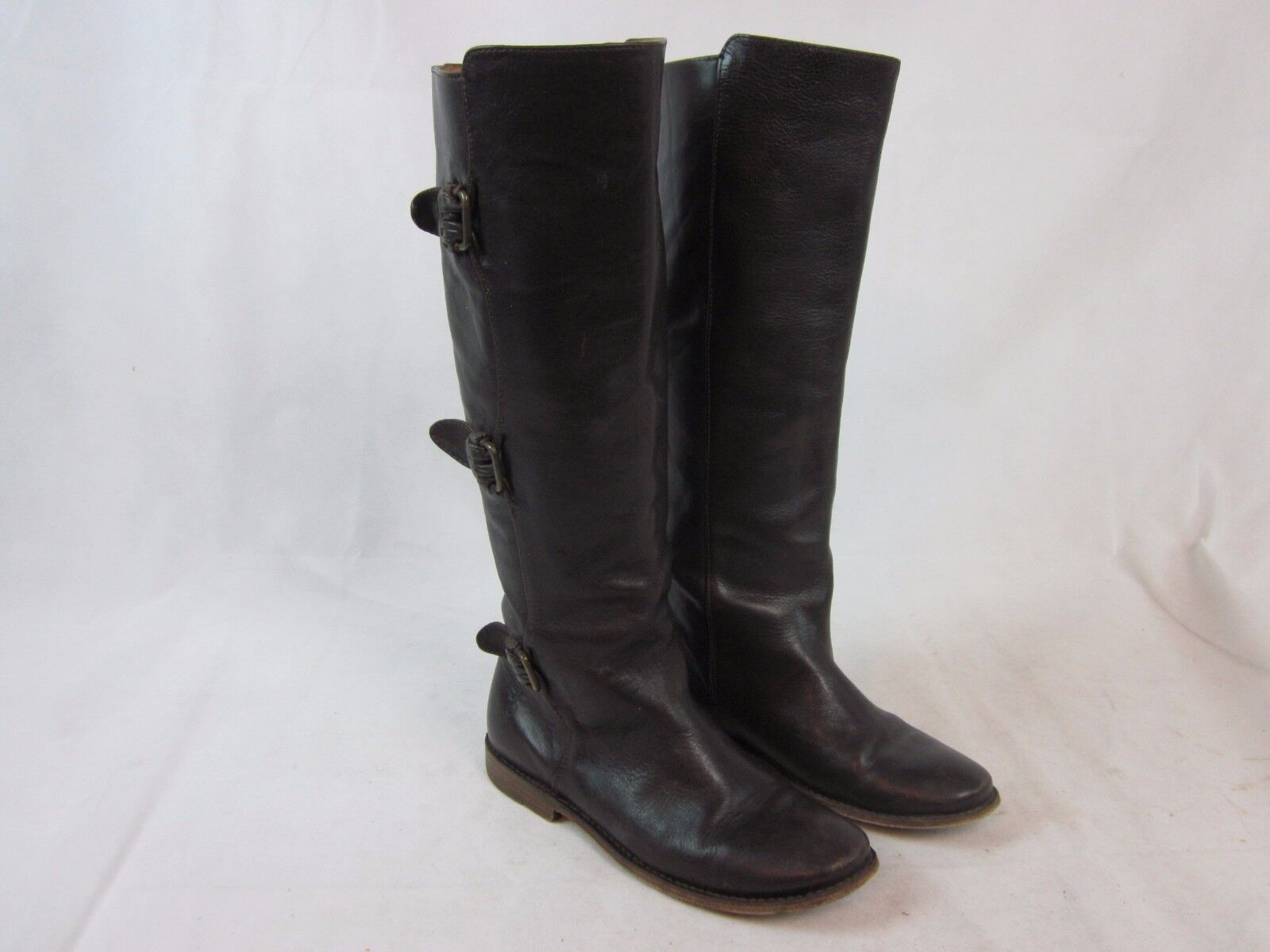 Women's FRYE 77066 'Paige Tall Buckle' Brown Leather Knee High Boots Sz 6 B