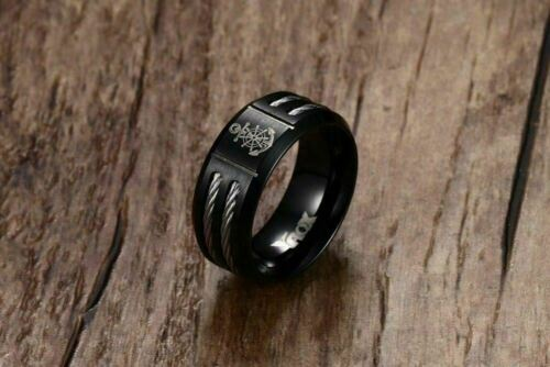 Cool 2018 Black Stainless Steel Men/'s Rudder and Anchor Ring for Men Jewelry